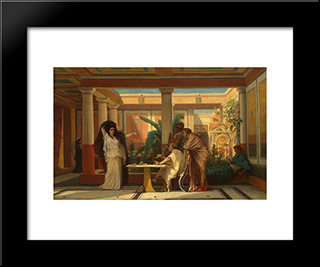 Theatrical Rehearsal In The House Of An Ancient Rome Poet: Modern Black Framed Art Print by Gustave Boulanger