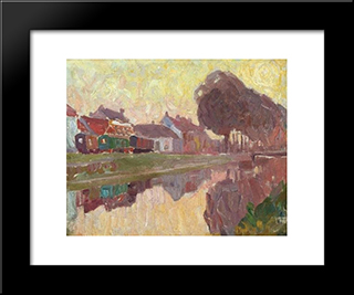 Ghent, A View Of The Coupure: Modern Black Framed Art Print by Gustave de Smet
