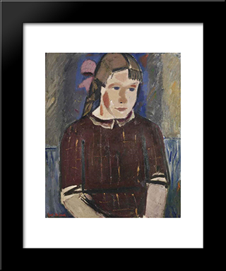Girl With A Pink Ribbon: Modern Black Framed Art Print by Gustave de Smet
