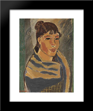 Girl With Blue Scarf: Modern Black Framed Art Print by Gustave de Smet