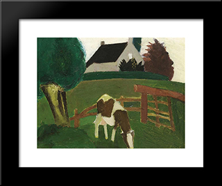 Grazing Cow: Modern Black Framed Art Print by Gustave de Smet