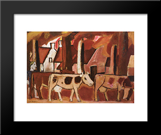 Leading Cows To The Stall: Modern Black Framed Art Print by Gustave de Smet