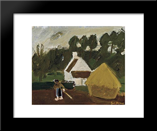 Mowing Woman: Modern Black Framed Art Print by Gustave de Smet