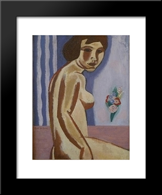 Naked Woman With Flower Bouquet: Modern Black Framed Art Print by Gustave de Smet
