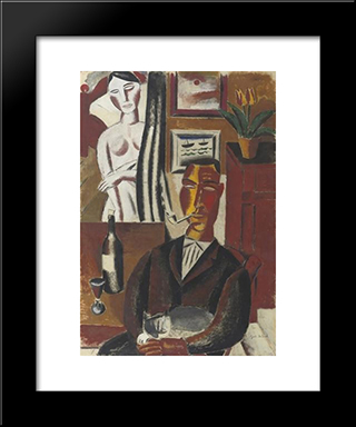 The Man With The Bottle: Modern Black Framed Art Print by Gustave de Smet