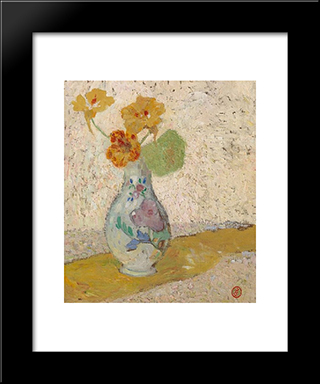 Three Flowers In A Vase: Modern Black Framed Art Print by Gustave de Smet