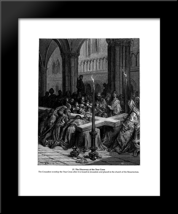 Discovery Of The True Cross: Modern Black Framed Art Print by Gustave Dore