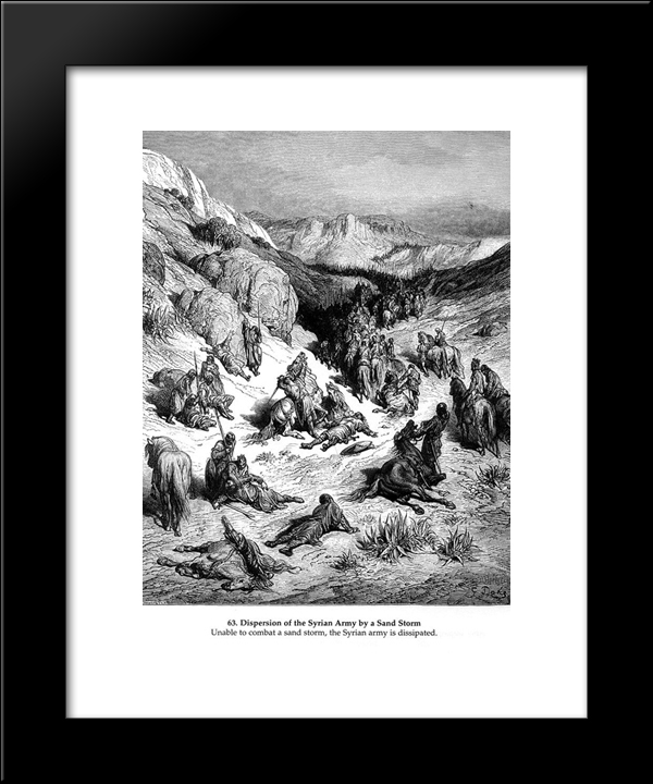 Dispersion Of The Syrian Army By A Sand Storm: Modern Black Framed Art Print by Gustave Dore