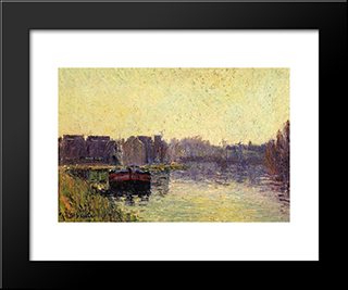Barges On The Oise: Modern Black Framed Art Print by Gustave Loiseau