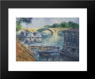 Boats On The Seine: Modern Black Framed Art Print by Gustave Loiseau