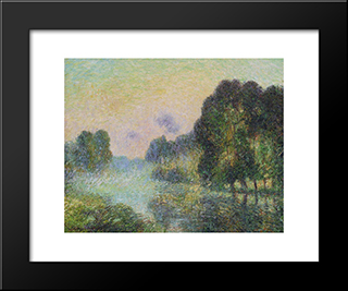 By The Eure River Fog Effect: Modern Black Framed Art Print by Gustave Loiseau