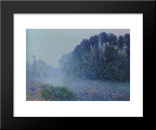 By The Eure River Mist Effect: Modern Black Framed Art Print by Gustave Loiseau