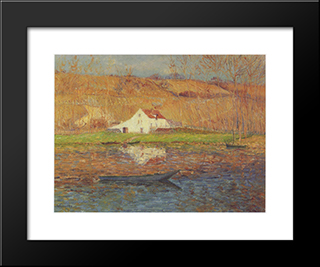 By The Loing River: Modern Black Framed Art Print by Gustave Loiseau