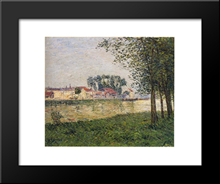 By The Oise At Parmain: Modern Black Framed Art Print by Gustave Loiseau