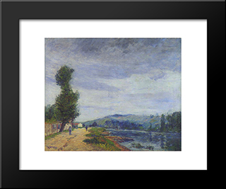 By The Seine Stormy Weather: Modern Black Framed Art Print by Gustave Loiseau