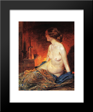 By The Fireside: Modern Black Framed Art Print by Guy Rose