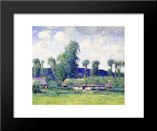 French Farm: Modern Black Framed Art Print by Guy Rose