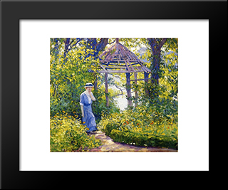 Girl In A Wickford Garden, New England: Modern Black Framed Art Print by Guy Rose