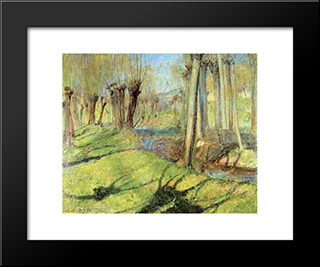 Giverny Willows: Modern Black Framed Art Print by Guy Rose