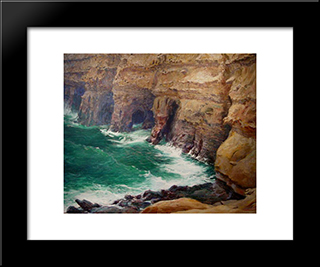 La Jolla Caves: Modern Black Framed Art Print by Guy Rose