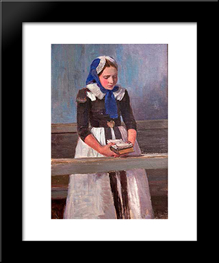 A Young Girl: Modern Black Framed Art Print by Hans am Ende