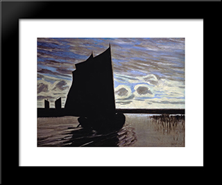 Barque On The River Hamme: Modern Black Framed Art Print by Hans am Ende