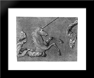 A Study Of Unicorn: Modern Black Framed Art Print by Hans Baldung