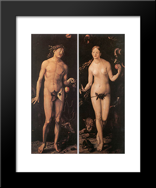 Adam And Eve: Modern Black Framed Art Print by Hans Baldung