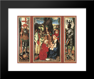 Adoration Of The Magi: Modern Black Framed Art Print by Hans Baldung