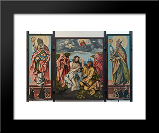 Altar Of St. John The Baptist: Modern Black Framed Art Print by Hans Baldung