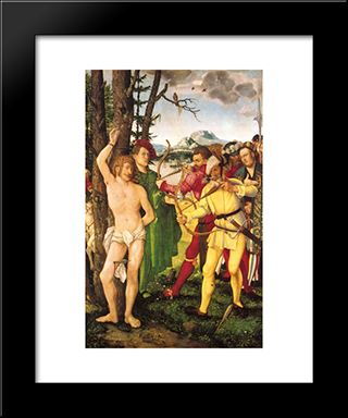 Altarpiece With The Martyrdom Of St. Sebastian: Modern Black Framed Art Print by Hans Baldung