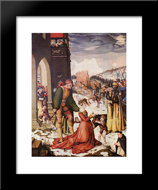 Beheading Of St. Dorothea: Custom Black Wood Framed Art Print by Hans Baldung