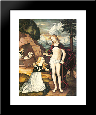 Christ As A Gardener (Noli Me Tangere): Modern Black Framed Art Print by Hans Baldung
