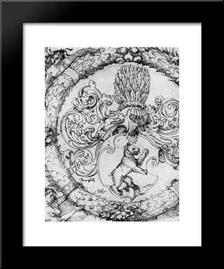 Coat Of Arms Basler Adelberg Iii Of Bear Rock, Lord Arisdorf: Modern Black Framed Art Print by Hans Baldung