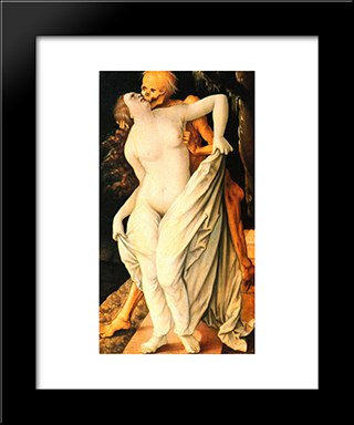 Death And Wife: Modern Black Framed Art Print by Hans Baldung