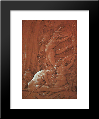 Departing For The Sabbath: Modern Black Framed Art Print by Hans Baldung