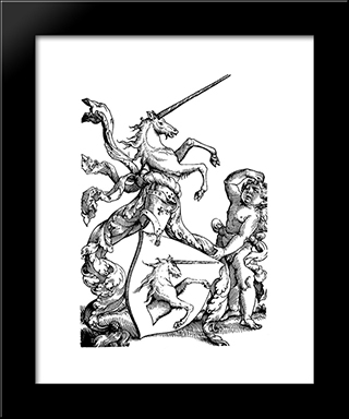 Family Coat Of Arms Baldung: Modern Black Framed Art Print by Hans Baldung