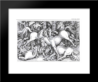 Group Of Seven Wild Horses: Modern Black Framed Art Print by Hans Baldung