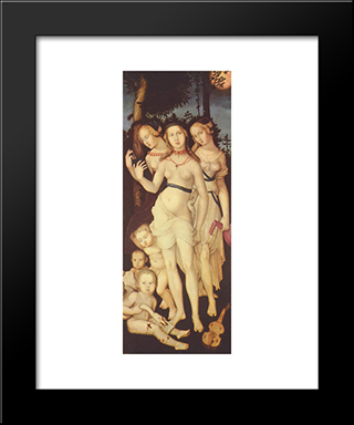 Harmony Or The Three Graces: Modern Black Framed Art Print by Hans Baldung