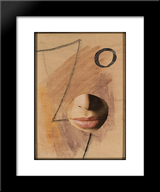 Dada Head Variation - No. 507: Modern Black Framed Art Print by Hans Richter