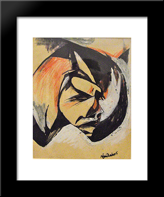Portrait De Lou Marten: Modern Black Framed Art Print by Hans Richter