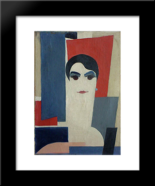 Portrait Of Dora Rukser: Modern Black Framed Art Print by Hans Richter