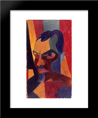 Self Portrait: Modern Black Framed Art Print by Hans Richter