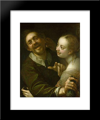 A Couple At A Guesthouse: Modern Black Framed Art Print by Hans von Aachen