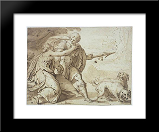 Adonis Held Back By Venus While Going Hunting: Modern Black Framed Art Print by Hans von Aachen