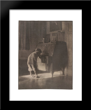 Hans With Bureau: Modern Black Framed Art Print by Heinrich Kuhn