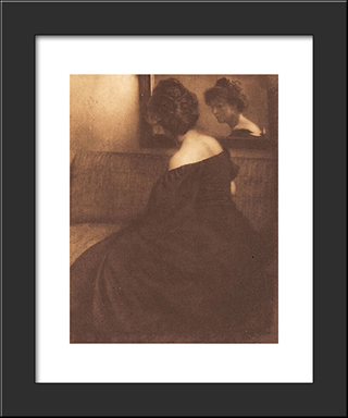 Lady Before A Mirror: Modern Black Framed Art Print by Heinrich Kuhn