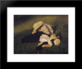 Miss Mary And Edeltrude Lying In The Grass: Modern Black Framed Art Print by Heinrich Kuhn