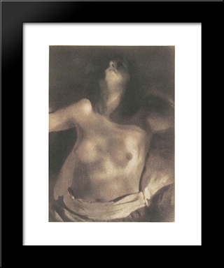 Nude On Back: Modern Black Framed Art Print by Heinrich Kuhn