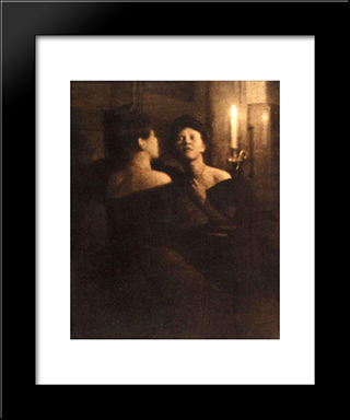Woman At A Mirror: Modern Black Framed Art Print by Heinrich Kuhn